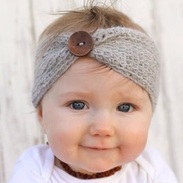 Wholesale Hot Sale winter wool knitted headband baby girls kids newborn hair head band wrap turban headwear with button hair accessories