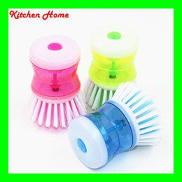 Auto Adding Cleaning Liquid Pressing Household Kitchen Dish Pot Bowl Washing Brush Cleaning Brush Steel Wire brush