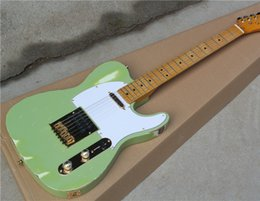 Electric Guitar with Light Blue Body,Vintage Maple Fretboard,string-thru-body Design,In Old Style,can be Customized