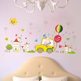 Wholesale 60 cm Wall Stickers DIY Art Decal Removeable Wallpaper Mural Sticker for Kids Bedroom Bathroom Living Room XH9239 Cartoon Rabbit Driver