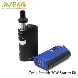 Wholesale Original Tesla Stealth W Starter Kit E Cigarette Vaporizer Teslacigs Stealth Kit With Single High Drain Battery and Shadow Tank