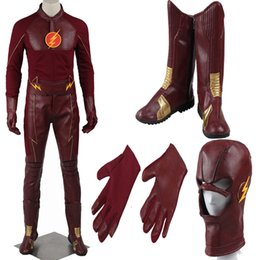 2016 The Flash Cosplay Costume With Boots Men's Costume Barry Allen Superhero Costume Halloween Outfit Adult Men Suit