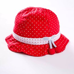 2016 Red 100% Cotton Kids Hat Dotted Short Brim Beach Sun Hat for Girls Top Quality Girls Sun Protection Hats KidsTravel Hat