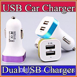 100X Dual port car usb charger adapter for iphone 5 5S 6 6S 7 Plus samsung galaxy s7 Note4 3 usb Universal car charger N-SC