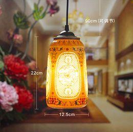 Wholesale LED Pendant Light Pretty Porcelain Chinese Style Jingdezhen Hollow Ceramic Loft Coffee Bar Restaurant Kitchen Lights