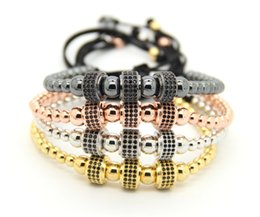 Fashion Men Women Jewelry, 4mm & 6mm Round Beads Weave Three Micro Pave CZ Charm Balls Braiding Macrame Bracelet & bangles