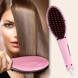 Wholesale Factory Price Beautiful Star White Pink Straightening Irons Come With LED Display Electric Straight Hair Comb Brush US EU Plug