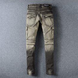 Wholesale Balmain men jeans Men s Fashion Runway Biker Slim Stretch Acid Light Blue Distressed Washed Jeans Size28