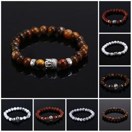 Wholesale Bracelets Natural Stone bead Buddha Bracelets For Women and Men Silver Buddha Turquoise pulseras mujer Black Lava Bead Bracelet
