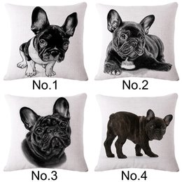 Wholesale French Bulldog animal print linen sofa pillow case without pillow