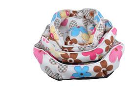 Wholesale Color circular pattern kennel Flowers Blue Pink Monkey bubble Pet dog cat bed Pet dog cat mat S M L Dia35 cloth PPcotton