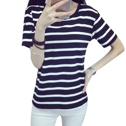 2016 New fashion Summer T shirt Women Harajuku Striped soft loose Short sleeve t-shirts O-neck Loose Kawaii Striped tee tops