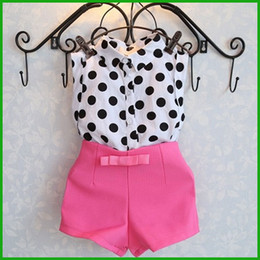 2016 fashion beautiful girls suits chidlren lovely style sleeveless t-shirt polka dot printed pink short pants outfits baby clothing