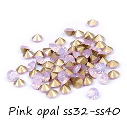 New Arrival 288pcs Round Pointback Glass Rhinestones ss32-ss40 Pink Opal Non Hotfix Crystal Chaton Stones DIY Accessories