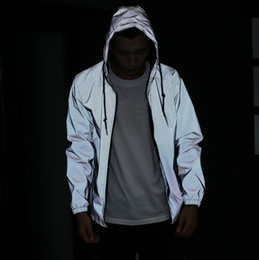 Wholesale Men jacket casual hiphop windbreaker m reflective jacket men sport coat hooded fluorescent clothing