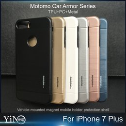 Wholesale Iphone Case Motomo TPU PC Metal Hard Back Cover Brush Cases For iPhone s plus Note work for magnetic car holder