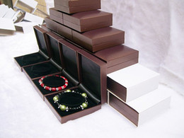 EMS Free 20X Brown Jewelry Display Bracelet Boxes Bangle Holder Casket Plastic Quality Jewelry Gift Packaging Box Organizer Case
