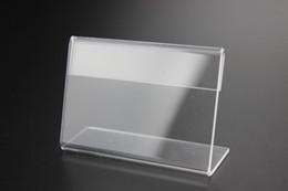 2017 tableau acrylique clair Clear 55x85mm 2mm L Plastique Acrylique Sign Display Paper Promo de la table de la carte Price Label Stand Holder tableau acrylique clair sortie
