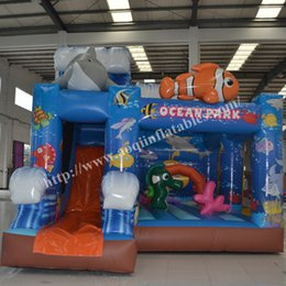 Wholesale AOQI amusement park equipment ocean park inflatable combo kids outdoor sport toy mini bounce house with slide for sale