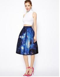 Wholesale 2016 hot style d digital printing blue sky show thin joker bust skirt of tall waist foreign trade hot style skirt