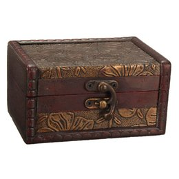 Wholesale 1pcs Retro Vintage Jewelry Storage Box Metal Lock Wooden Organizer Case Wood Boxes Antique Jewellery Candy Container Cases