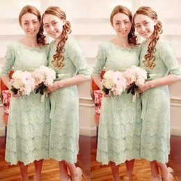 Sage Lace Half Sleeve Tea Length Country Bridesmaid Dresses Vintage Cheap Sash Back Zipper Maid Of Honor Gowns Custom Made