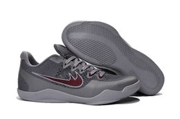 Wholesale Cool Shoes For Sale - Wholesale KB 11 Lower Merion Cool Grey Team Red-Wolf Grey Sneakers For Sale Mens Basketball Kobe Sports Athletic Shoes Free Shipping