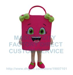 Wholesale pink shopping bag mascot costume adult size cartoon paper bags theme shopping costumes advertising carnival fancy dress