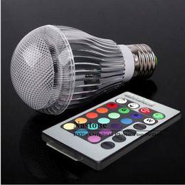 Bulbo de 9W LED RGB 16 que cambia 9W E27 proyectores LED RGB llevó bulbos lámpara de Downlight + 24 remoto clave 85-265V de Control desde cambiar las bombillas downlight fabricantes