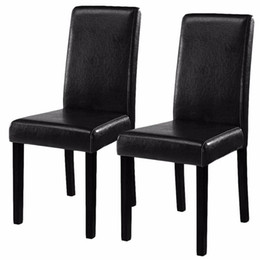 Wholesale Leather Contemporary Dining Chairs Home Room Set of Black Elegant Design