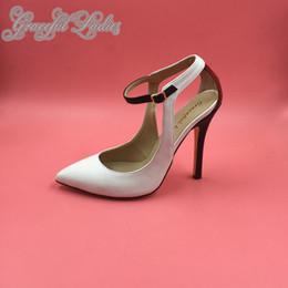 Wholesale 12CM High Heel Dress Shoes Pointed Toe Women Pumps Ankle Strap Embossed Soft Leather Stilettos Real Photo Female Salto Alto Feminino Pumps