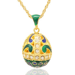"multiple crystal paved hollow faberge egg shape pendant necklace European fashion Russian egg style 16"" gold plating chain included"