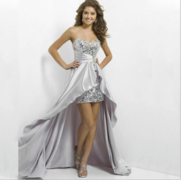 Sexy High Low Prom Dresses Sequins Backless Crystal Formal cheap evening dresses Champagne Color prom+dresses Cute Sweetheart bridesmai