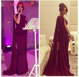 Wholesale Long Cloak Formal Dress - Burgundy Kaftan Dubai Cloak Cape Long Mermaid Prom Dresses 2016 Muslim Arabic Elegant Party Evening Occasion Formal Gowns