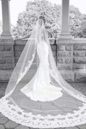 Best Selling Elegant Luxury High Quality Romantic Lovey Sexy Cathedral short Lace Applique veil Bridal Head Pieces For Wedding Dresses