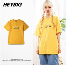 Wholesale HEYBIG Streetwear Men Tee DHL express Print Cotton Tops Cargo Truck Print American Youth Popular t shirts Chinese SIZE