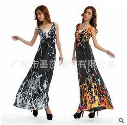 Wholesale Plumblossom D7 M XL Graffiti Print Maxi Bohemia loose extra super large plus size women v neck beach dress silk dresses floor length DHL