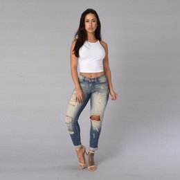 Wholesale Cotton Denim Pants Hole Pants Bleached Pants Womens Bleach Ripped Skinny Jeans Denim Jeans For Female