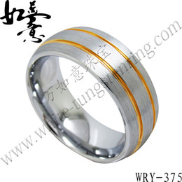 Gold Plated White Tungsten Carbide Rings 100% hot sales and good quality 8mm for Men WRY-537