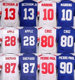 Wholesale NIK Elite Giants jerseys cheap rugby football jerseys BECKHAM JR MANNING CRUZ PIERRE PAUL SHEPPARD APPLE white blue