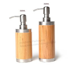 Wholesale ml ml Refillable Bamboo Pump Bottle Cosmetic Container for shampoo lotion hand sanitizer use