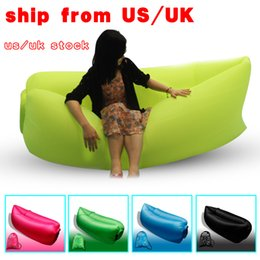 Wholesale UK US stock Lamzac Inflatable sleeping bags Sofa banana Sleeping Lazy Chair Bag Nylon Hangout Air Beach Bed Lay bag with pcket and hold