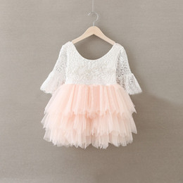 Wholesale Hug Me Baby Girls Lace Christmas Dress Tutu New Autumn Winter Short Sleeve Kids Clothing Sequiry Flower Cake Dress AA