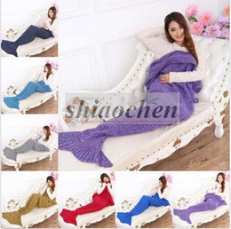 Wholesale Adult Handmade Mermaid Tail Blankets Crochet Mermaid Blankets Mermaid Tail Sleeping Bags Cocoon Mattress Knit Sofa Blankets A1234