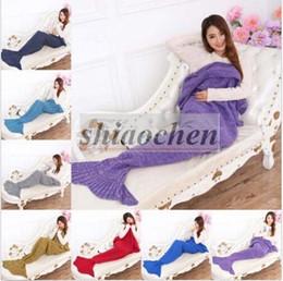 Wholesale Adult Handmade Mermaid Tail Blankets Crochet Mermaid Blankets Mermaid Tail Sleeping Bags Cocoon Mattress Knit Sofa Blankets A1234