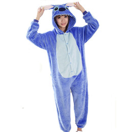 Wholesale Lovers Stitch Unisex Adults Flannel Hooded Pajamas Cosplay Cartoon Animal Onesies Sleepwear For Men Women