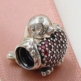 2015 Autumn New 925 Sterling Silver Red Robin Charm Bead with Clear Cz Fits European Pandora Jewelry Bracelets & Necklace
