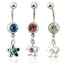 Body Piercing Fashion Belly Button Rings 316L Stainless Steel Barbells Dangle Rhinestone Star Navel Rings Jewelry