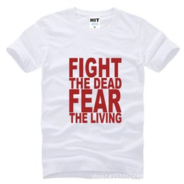 Wholesale WISHCART Fight The Dead Fear The Living The Walking Printed Mens T Shirt Tshirt Fashion Cotton T shirt Tee Camisetas Hombre