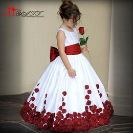 Lovely Ball Gown Flower Girl Dresses 2016 Jewel Neck Tank Sleeveless Red Sash Flowers Girls First Communion Dress Custom Made